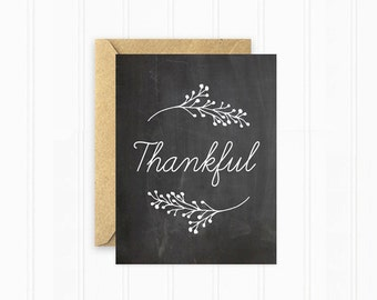 Thanksgiving Card, Chalkboard with Branches, Thankful Card, Holiday Stationery