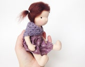 "Small Waldorf doll - waldorf inspired cloth doll -  7.5"" handmade Steiner doll made with natural materials - One of a kind Ready to ship"