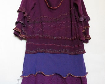 Mini dress, upcycled clothes, funky, purple dress, three quarter sleeve, cotton, with Ruffles, embroidered, recycled fabric, upcycling, upcycled gown