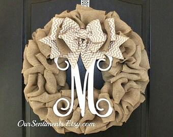 Fall Wreath Summer Wreath Chevron Burlap Wreath - Etsy Wreath - Summer wreaths for door  - Door Wreath - Monogram wreath