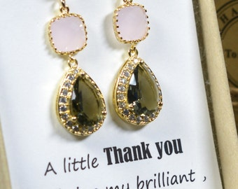 Pink gray -Bridesmaid Jewelry Bridesmaid Wedding Bridal Jewelry -Bridesmaid gifts, Gold Pink charcoal gray wedding jewelry EARRINGS