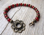 SALE Brass Flower Focal Bracelet With Cranberry Agate Gemstones FREE SHIPPING