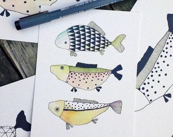 Love Fish (Spots and Triangles)  - Fine Art A6 postcard