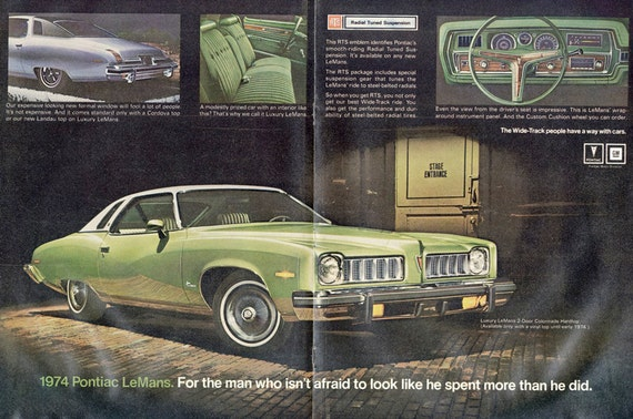 1974 pontiac le mans 2 door colonnade hardtop car ad vintage. Black Bedroom Furniture Sets. Home Design Ideas