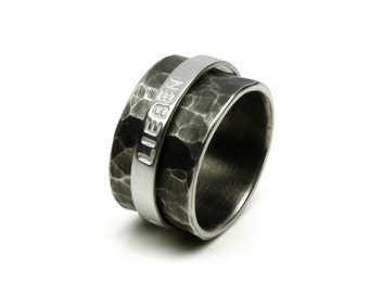 Rotating ring WISH WORDS, 925 silver, personalized, customized with name, text, silver ring