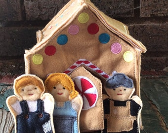 Gingerbread House , Hansel and Gretel and the Old Witch , Story Book Characters , Felt Finger Puppet Play Set