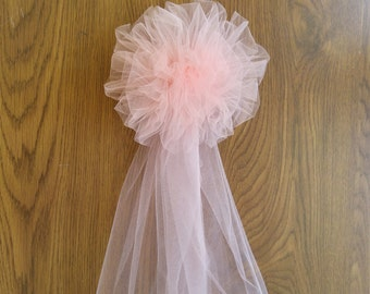Blush Tulle Pew Bow, Pom Tulle Pew Bow, Wedding Pew Bow,  Bridal Shower Bow, Anniversary Bow, Wreath Stair Door Mailbox Church Decoration