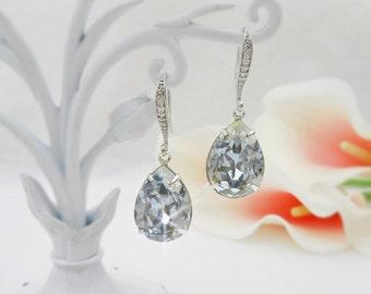 Swarovski Blue Shade Teardrop Bridal Earrings Swarovski Bridesmaid Teardrop Earrings Bridesmaid Gift More Colors Availble FREE US Ship