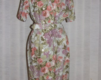 BNWT Vintage 1980s St Michael (M&S) Floral Print Belted Safari Dress - Size 10
