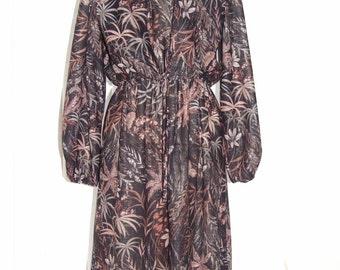 Vintage 1970s Two Piece Floral Print Suit (Dress & Cropped Jacket) - Size 10
