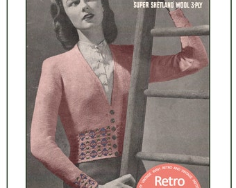1940s Ladies Fair Isle Cardigan Vintage Knitting Pattern - PDF Instant Download