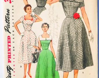 Vintage 50's Simplicity 4650 - Women's Dress with Square Neckline and Collar - Size 12 - Bust 30