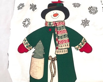 Jack Snow Pillow Kit, Snowman Pattern, Cut & Sew, Fabric Panel, Christmas Snowman Top Hat, Pre-Cut, Toy Snowman Plush Cotton Doll, Cranston