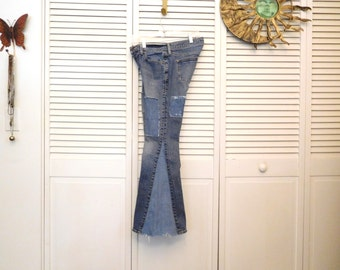 Patchwork Jeans Bell Bottoms Patched Upcycled Size 4 Hippie Below the Waist Medium Wash Festival Jean Patches Frayed