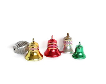 SALE Unbreakable Plastic Christmas Bell Ornaments, Set of 5