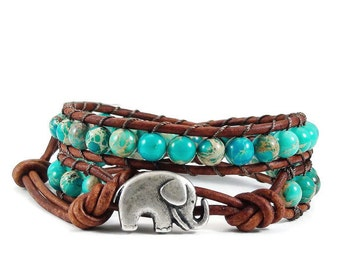 Leather Wrap Bracelet Blue Imperial Jasper Gemstones Elephant Button Beaded Jewelry