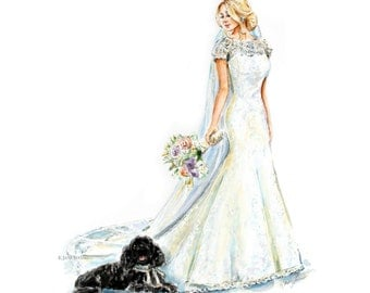 Custom Bridal Portrait/ Custom Bride Painting/ Watercolor Bride Portrait / Custom Fashion Portrait
