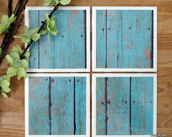 Ceramic Tile Coasters - Coaster Set - Table Coasters - Turquoise Coasters - Coaster - Tile Coaster - Rustic Coaster - Coasters for Drinks