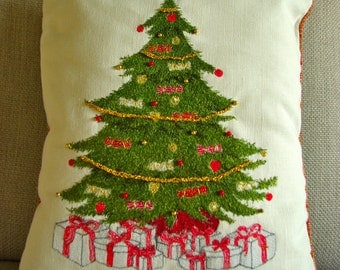 Hand made, Embroidered Christmas Tree Cushion