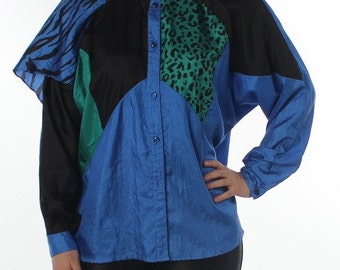 Hip Electric Blue 80's Avant Garde Button Up Long Sleeve Blouse by City Girl California