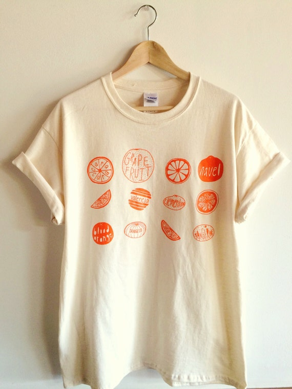 Oranges t shirt food shirt fruit shirt screen printed t for Screen print on t shirts