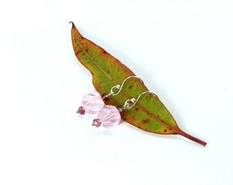 Swarovski Crystals, Pink Earrings, Pink Swarovski Crystal Earrings, Pink Swarovski, Sterling Silver Earrings, Swarovski Earrings, Silver