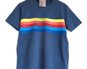 RETRO STRIPES t shirt. 100% organic cotton t-shirt. Hand printed. Blue shirt. Rainbow stripes. Rainbow t-shirt