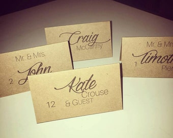 Custom Printed Place Cards for Weddings or Parties
