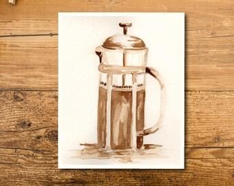 Coffee Art - Coffee Art Print - Coffee Painting - Coffee Watercolor Art - Coffee Wall Art - French Press Art