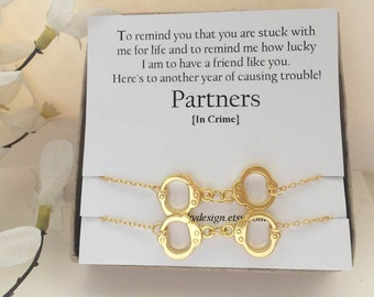 Best friend gift,Partners in crime bracelets-Set of -2,Gold Handcuff bracelet,BFF,with Friendship Quote,best friend,Long Distance Friend