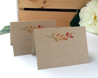 Blank Fall Wedding Place Cards - Fall Themed Wedding Name Cards, Fall Leaves, Fall Colored Name Cards - Kraft Wedding Cards