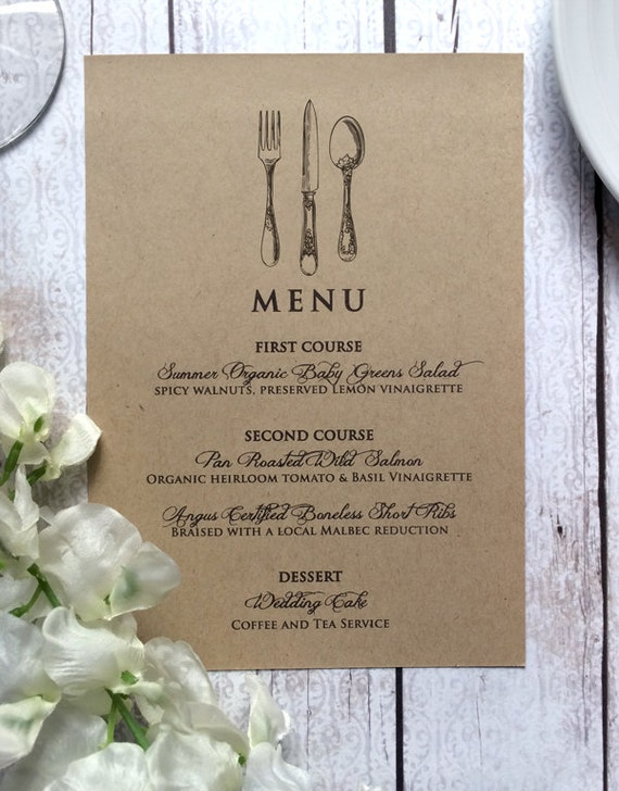 Wedding Menu Vintage Inspired wedding menu card vintage inspired wedding by