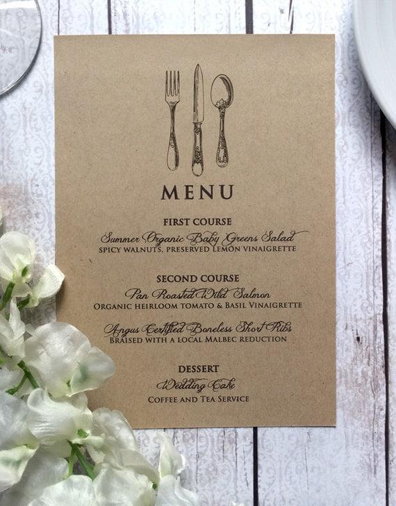 Wedding Menu Card Vintage Inspired Wedding By