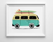 VW Bus Print, Vintage VW Van art, surf board art, nursery wall art, surf nursery decor, road trip art, vintage car illustration, unframed