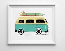 VW Bus Print, Vintage VW Van art, surf board art, nursery wall art, surf nursery decor, road trip art, vintage car illustration, unframed