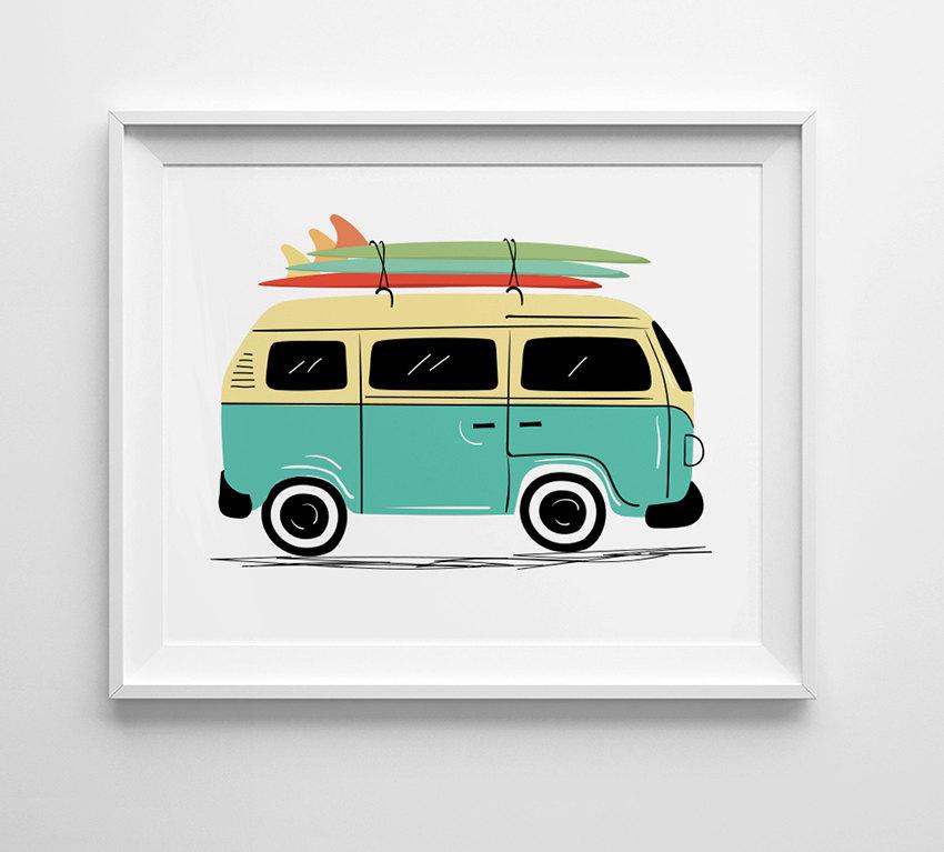 Vw Bus Print Vintage Vw Van Art Surf Board Art Nursery Wall Art