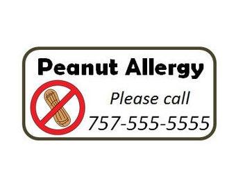 Set of 8+ Custom Temporary Tattoos - Emergency Contact - Peanut Allergy
