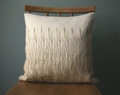 Botanical Print Linen Cushion cover, square throw pillow cover, hand printed grasses print