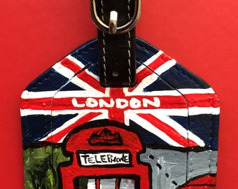 Luggage Tag, Leather painted, London, London Luggage Tag , hand painted leather bag tag, bag tag Hand Painted Leather Luggage Tag