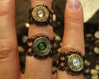 Bullet Casing Filigree Ring - Antique Brass