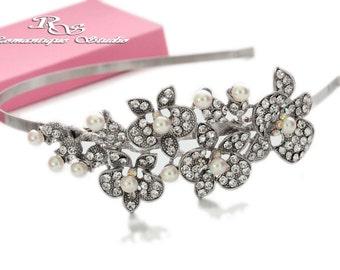 Bridal headpiece, Bridal wedding halo, Crystal hair accessory, Bridal wedding headband, Rhinestone headband, Wedding headpiece 3170
