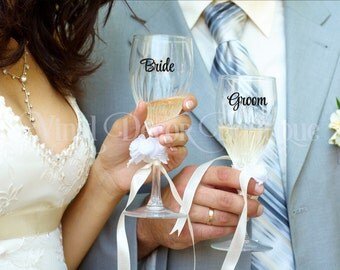 Bride and Groom decals for champagne or wine glasses