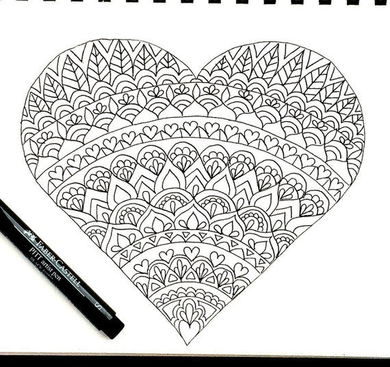 heart coloring page download valentines day coloring page adult coloring page kids coloring page download printable coloring page - Valentine Coloring Pages For Adults