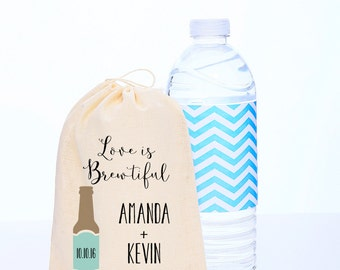 Love is Brewtiful {set of 10} Personalized Wedding Favor Bag