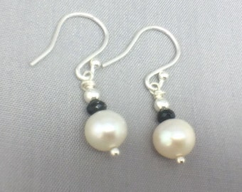 Black Spinel White Pearl Earrings, Sterling Silver Earrings, Freshwater Pearl Earrings, Black Spinel Jewelry Gift, Monochrome