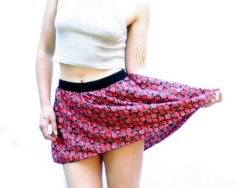 Pink and Red Floral Summer Skirt - Lightweight A-Line Elastic Skirt