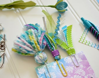 Tassel Clips, Set of 3... WATERCOLOR set... Bookmark Clips for Planner, Journaling Bible, or a Good Book... Blue, Green, Purple