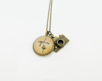 Capture Life - Handcrafted Inspirational Quote Pendant Necklace with Camera Charm