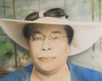 Outstanding 1940's Hand Tinted Black African American Woman In A Large Hat Photograph - My Mother - Free Shipping