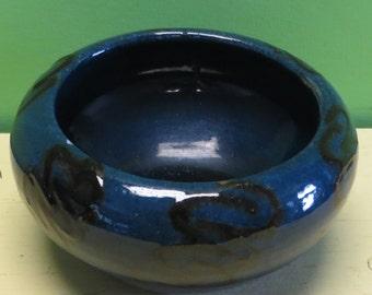 Original Early 1930's Herman Kahler HAK Denmark Art Pottery Bowl - Dark Blue